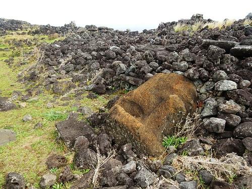 Fallen moai in Ahu Tepeu Rapa Nui - Eastern island - Chile
