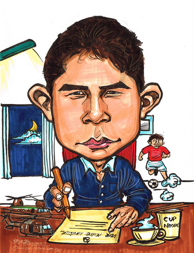 caricature working in Prime Minister office