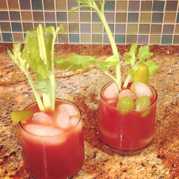 Now it's a party! Bloody Mary extraordinaire right here people. #sansvodka #stilldelicious