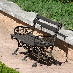 bench, outdoor furniture, furniture, wood, iron,