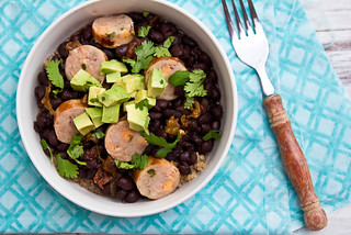 Crockpot Black Beans with Hatch Chiles, Chicken Sausage, and Quinoa