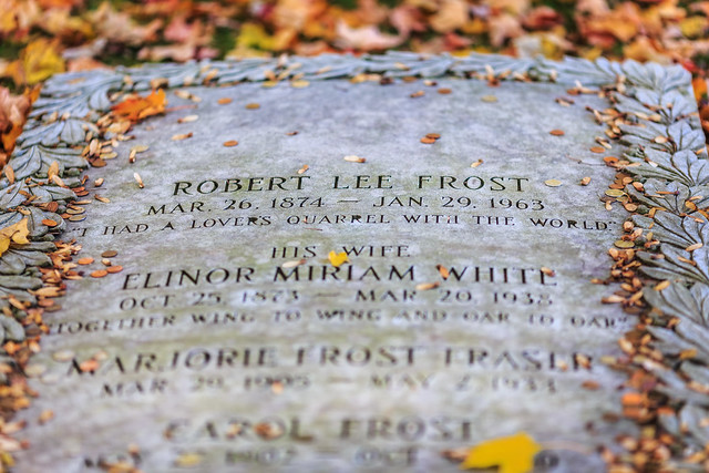 Robert Frost's Grave Amidst Fallen Leaves