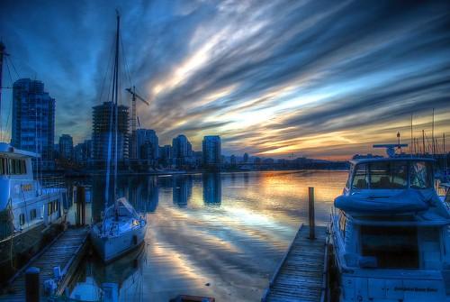 canada water vancouver sunrise boats nikon granvilleisland d60 photomatix tonemapped powerofart