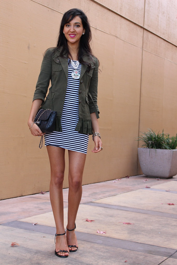 Military Jacket and a Striped Dress 2