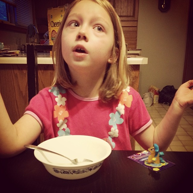 "Listening to school stories over breakfast with this kid, the first one awake (at 8:15). She said to me, ""It's so nice and quiet!"""