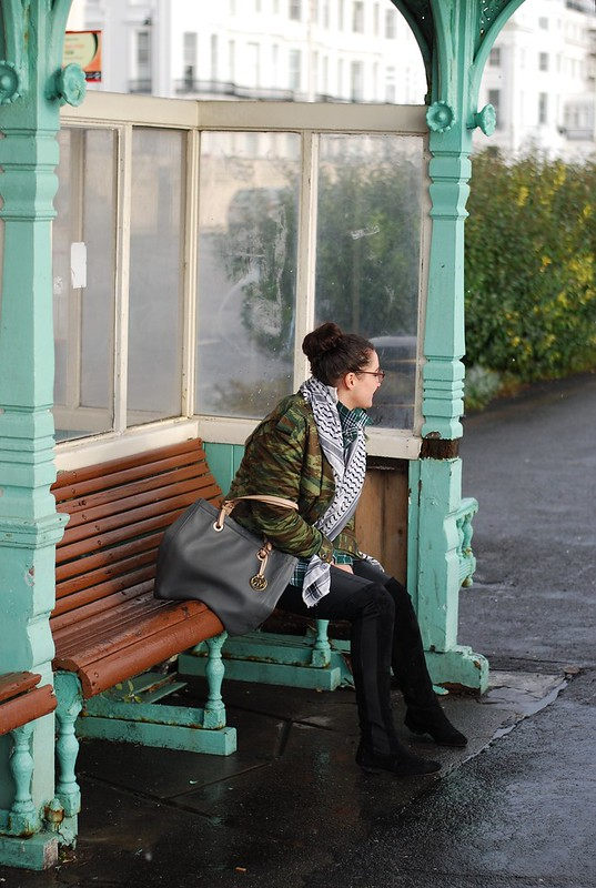 chambray and curls autumn winter outfit layers