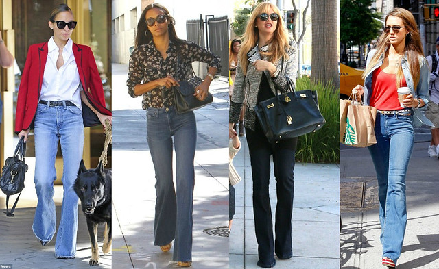 Flared jeans Trend: 70s flared jeans with sky blue shirt, brown V ...