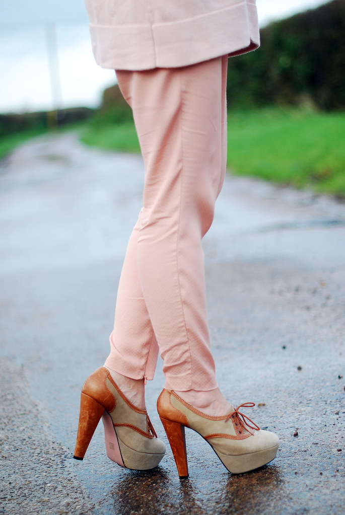 Blush pink & tan two-tone heels