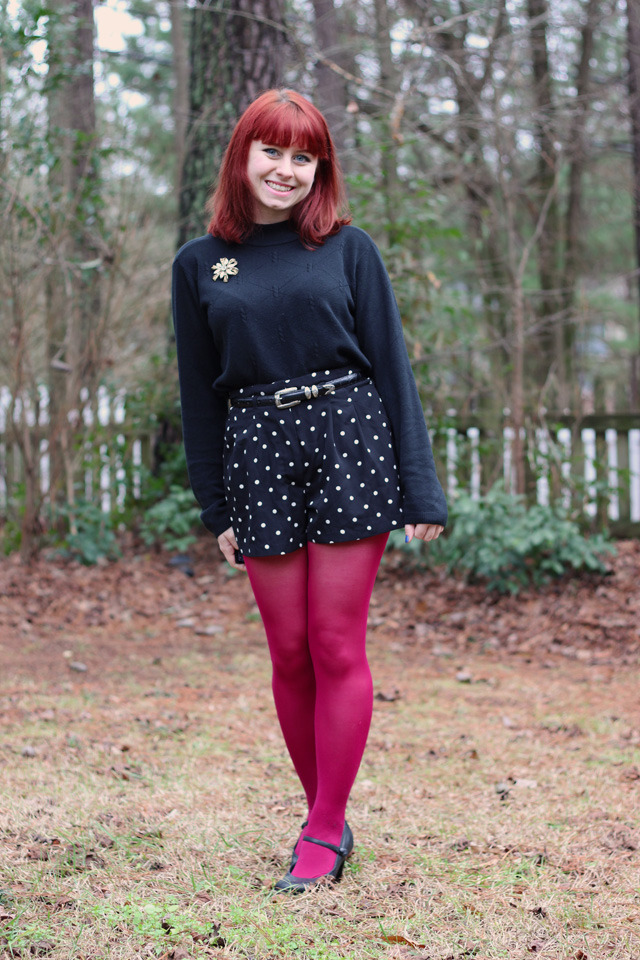 Polka Dot Shorts Pink Tights A Mock Turtleneck Sweater