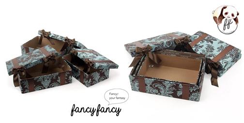 87.優雅宮廷風緞帶蝴蝶結收納盒(美國設計 大中小三個一組)-棕綠色細節