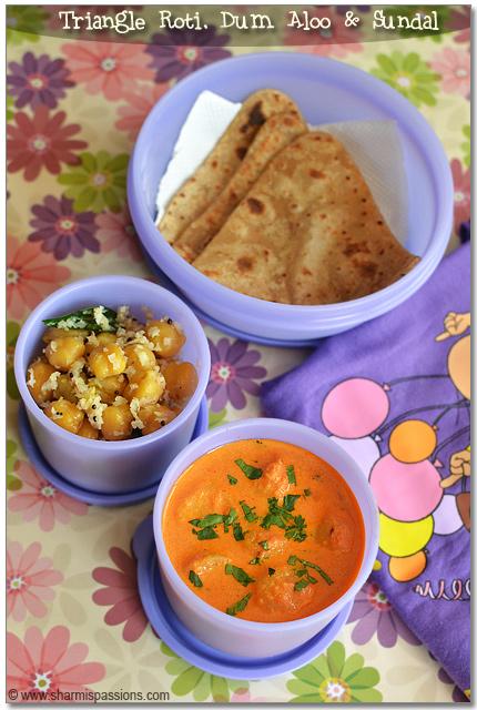 Triangle Chapati, Dum Aloo & Chana Sundal