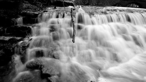 longexposure bridge trees winter blackandwhite snow cold ice water landscape waterfall stream coldweather runningwater sharonwoods