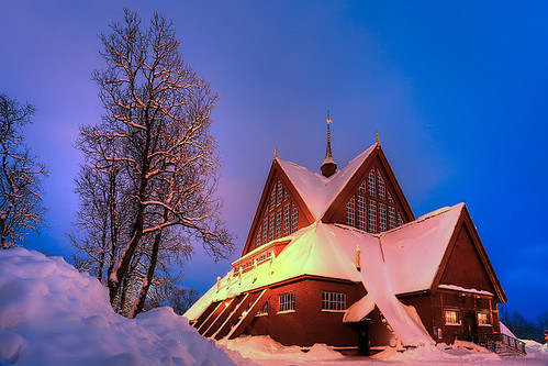 winter snow church sweden sverige kiruna suede suecia