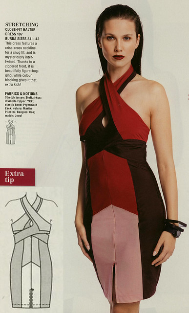 Burda-July-2014 Color Blocked Halter Dress