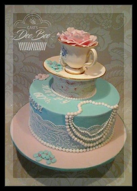 Vintage Tea style, with hand made decoration by Dorota Bondarczyk‎ of DeeBee Cakes Portadown