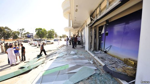 Benghazi attack at Marks & Spencer store. A wave of political assassinations continue two years after the counter-revolution against the Gaddafi government. by Pan-African News Wire File Photos