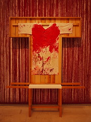 """Hermann Nitsch """"Splatter Paint with Painting Shirt""""  - - So well corresponding with the 2 paintings, but much too big - The Variable, a blindtext ~ Die Variable, ein Blindtext - 2 Paintings wanting a neighbour - Unanswered Request for a Painting - Kimono"""