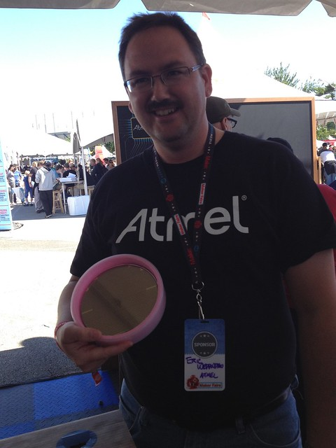 Eric Weddington and a wafer of ATmega328s