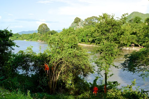panorama mountains tree water forest river thailand boat asia view sony monk southeast poon alpha dslr wat 77 province kanchanaburi noi pun khao kwai tham kwae