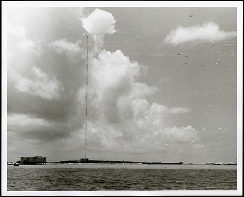 LORAN tower station on Sand-Johnston Island, 1963.