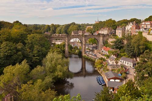 day cloudy yorkshire viaduct knaresborough northyorkshire railwayviaduct rivernidd