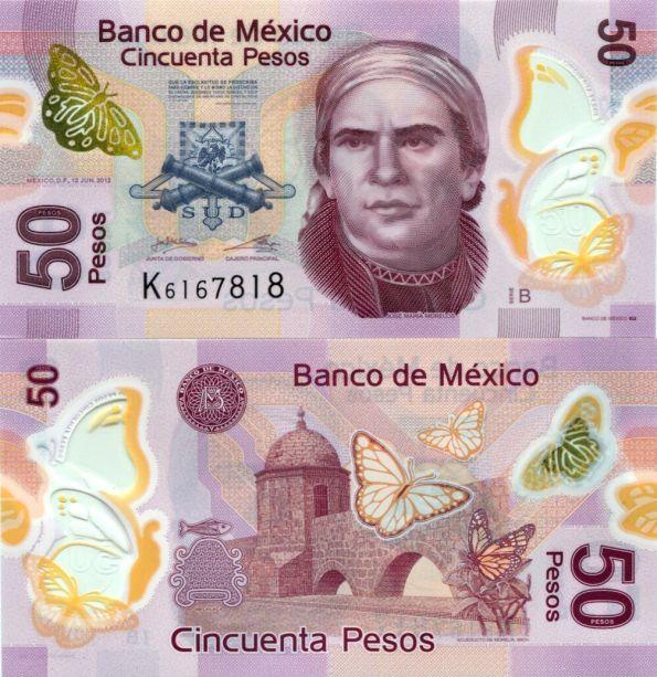 50 Pesos Mexiko 2012, polymer