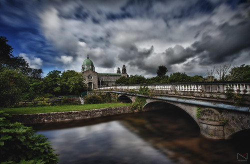 bridge blue ireland galway water clouds hdr