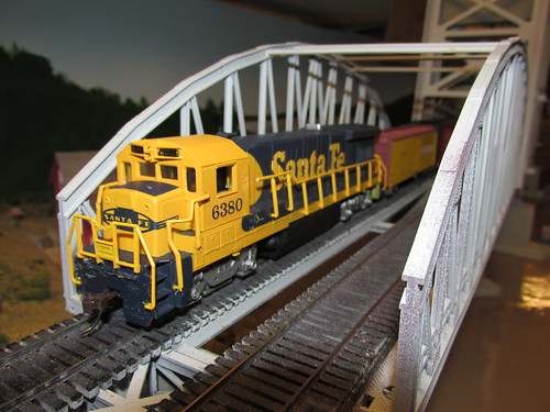 Fellow club member Tom's own Santa Fe short freight train crossing the Missisippi River lift bridge.  The Oak Park Society of Model Engineers,H.O Scale Model Railroad Club.  Oak Park Illinois.  October 2013. by Eddie from Chicago