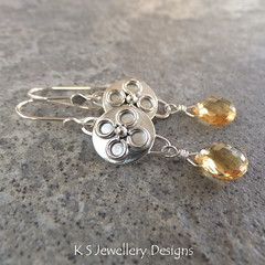Citrine Sterling Silver Embellished Disc Drop Earrings