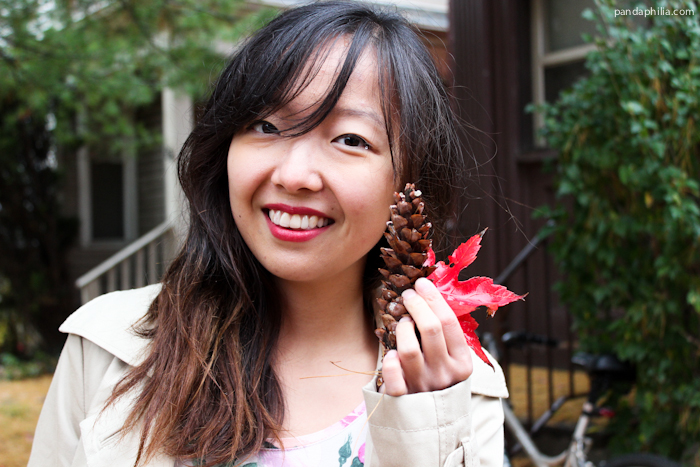 red lip, pinecone, maple leaf