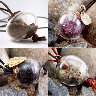 CUSTOM Beach Sand - Filled, Capped, and Cored Clear Hollow Lampwork - Beach Ball Treasure Pendant - Made to Order - SRA AutEvDesigns, ISGB