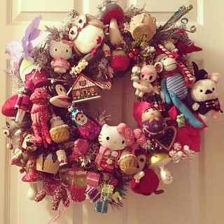 Took out my kawaii Christmas wreath much to Thad's chagrin who insisted we wait till after Thanksgiving to put out Xmas decors. But I'm a rebel. #kawaii #kawaiichristmas