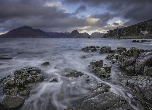 sea cloud seascape mountains skye water sunrise landscape scotland rocks waves cuillins elgol