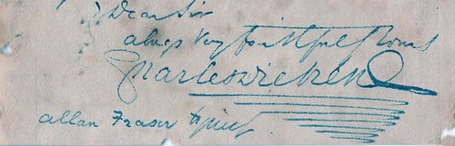 Signature of Charles Dickens at foot of a letter to Patrick Allan-Fraser dated 19th April 1858