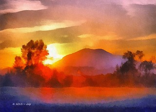 Sunset Behind Green Peak ~ Out My Rear Window ~ Painterly
