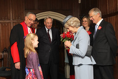 The Duchess of Gloucester is presented with a posy by 7 year old Charlotte Crossland from Birmingham (c) Westminster Abbey