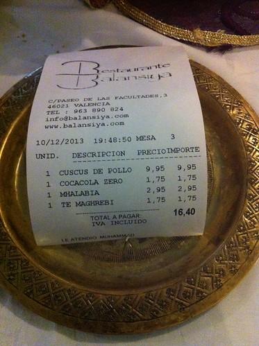 Valencia | Restaurante Balansiya | La cuenta