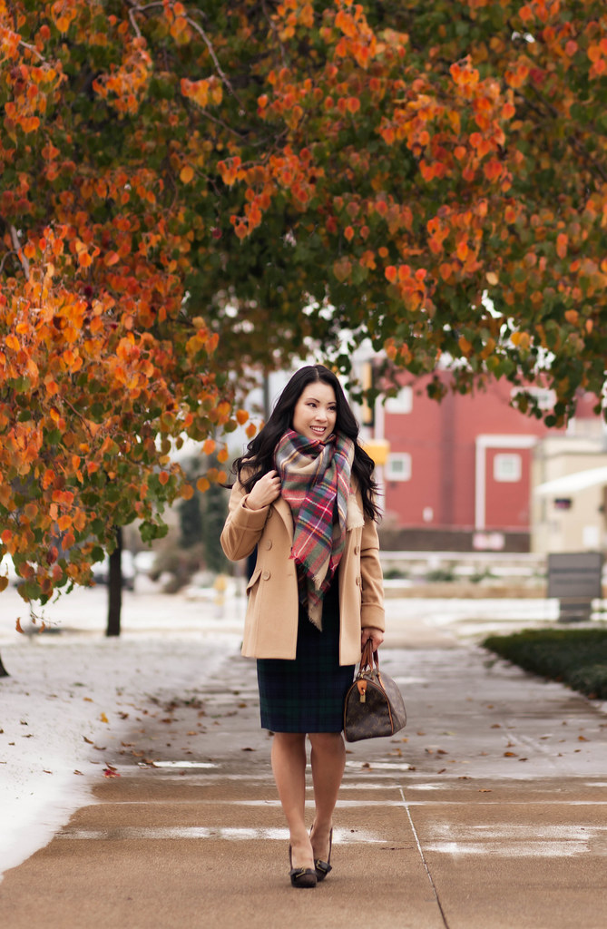 cute & little blog | mixing prints | plaid on plaid | zara checkered scarf, camel wool coat, plaid pencil skirt, louis vuitton speedy 25, outfit