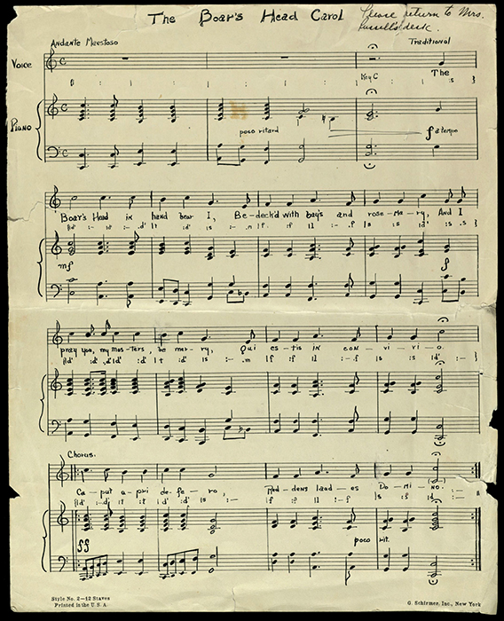"""The Boar's Head Carol"" sheet music"
