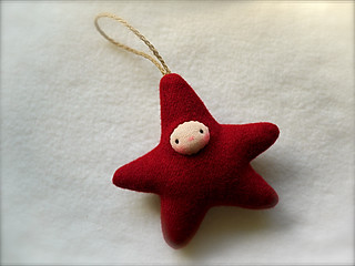 Drizzle Ornament: Bright Red STAR/Fair