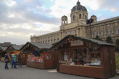 Christmas market stalls