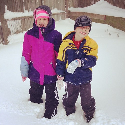 The kids loved the snow. Isobel decided it was too cold and didn't come outside. Lol.