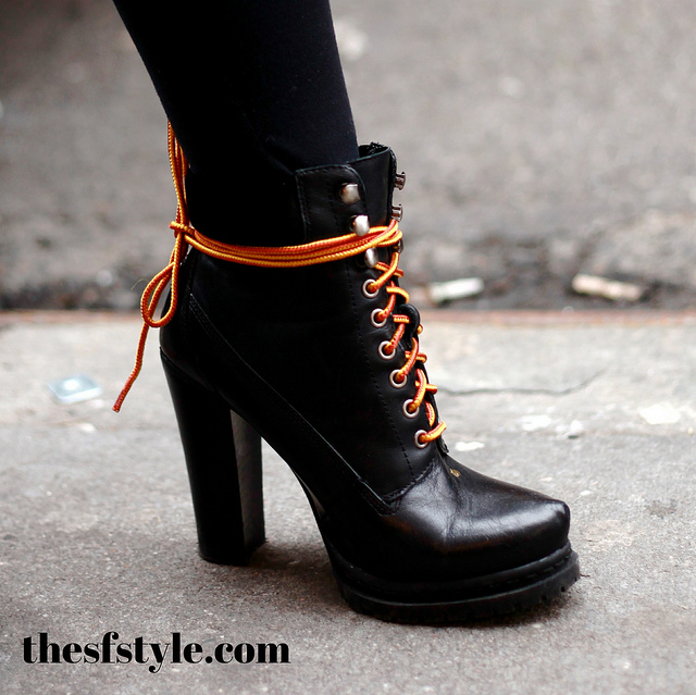 lumberjack fashion, lumber jill, heeled hiking boots, new york streetstyle fashion blog, STREETFASHIONSTYLE,