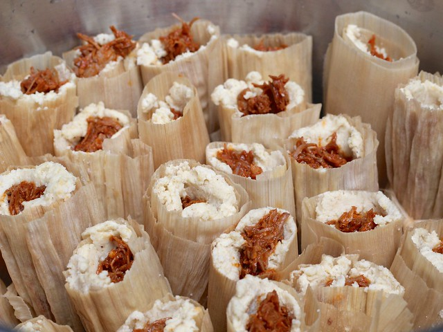 tamales: loaded into the steamer