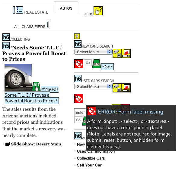 Missing LABELS in Auto Section of New York Times Home Page