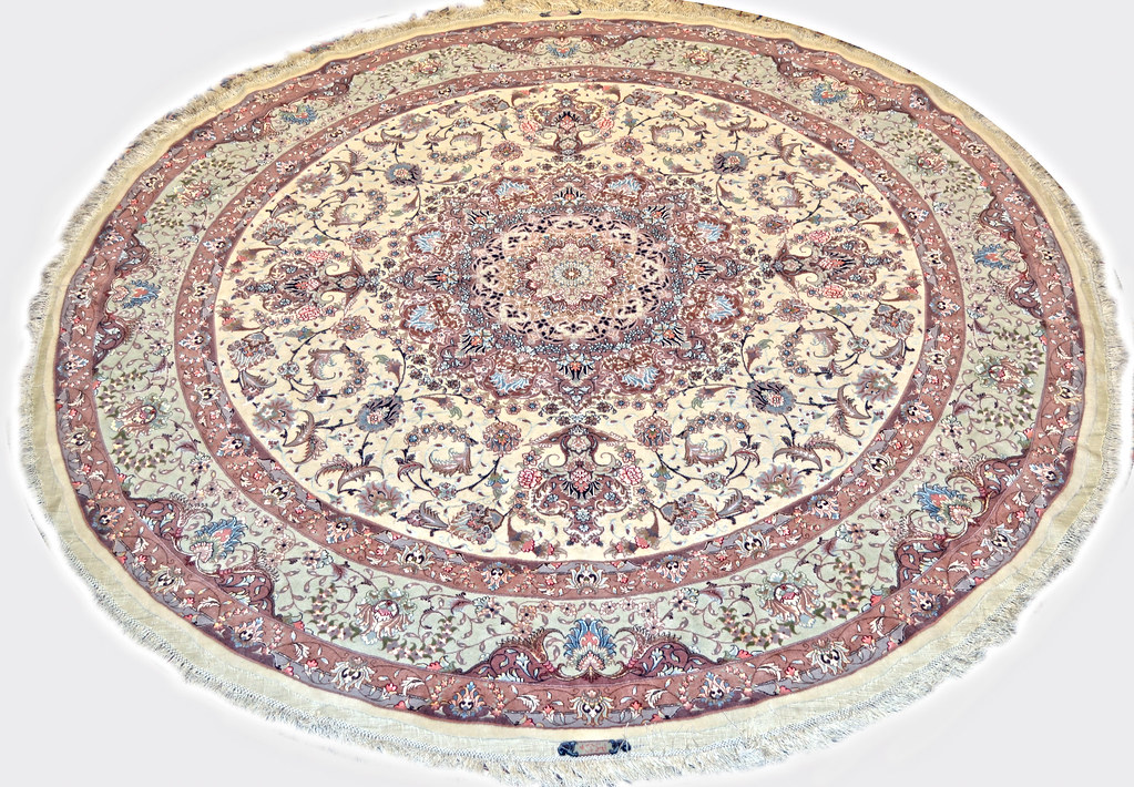 Circular Round Persian Tabriz Area Rug 7x7 Shiva Design