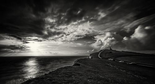 sunset england lighthouse monochrome canon unitedkingdom cliffs eastbourne l 1740mm beachyhead chriswright electricalimage