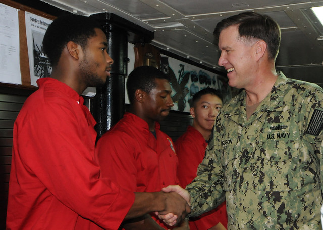 NAVAL SUPPORT ACTIVITY BAHRAIN - Vice Chief of Naval Operations (VCNO) Adm. Mark Ferguson visits Sailors aboard the mine countermeasure ship USS Gladiator (MCM 11).