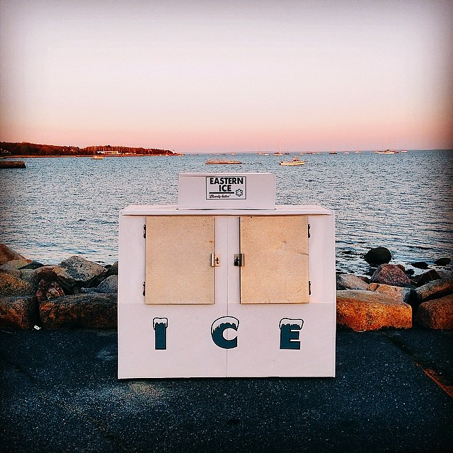 """Another sign that summer in Mattapoisett is nearly here! """"The Slip's"""" ice machine cometh! #vscocam"""