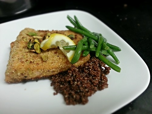 pistachio crusted salmon with red quinoa and haricot verts